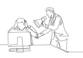 único desenho de linha contínua de jovem gerente frustrado gritando sua equipe masculina assustada usando um megafone. pressão de trabalho no escritório conceito uma linha desenhar design gráfico ilustração vetorial vetor