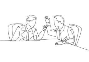 um único desenho de linha de jovem empresário zangado apontando o dedo para seu colega gritando, em seguida, eles culpando uns aos outros. problema de negócios conceito linha contínua desenho ilustração vetorial vetor