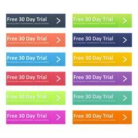 Conjunto de botão multicolorido para o design do site. Dia de teste gratuito. Sem compromissos a longo prazo, cancele a qualquer momento. Apartamento de vetor