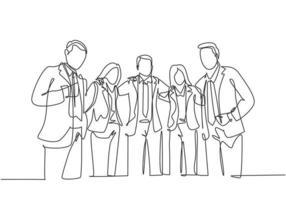 um desenho de linha contínua de jovens empresários do sexo masculino e feminino de várias etnias juntos e posando com elegância. unidade na diversidade conceito linha única desenho ilustração vetorial vetor