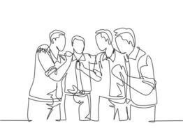 desenho de linha contínua único de um membro da equipe masculino feliz torcendo juntos e se abraçando para comemorar seu sucesso. conceito de equipe de negócios. ilustração em vetor desenho desenho de uma linha