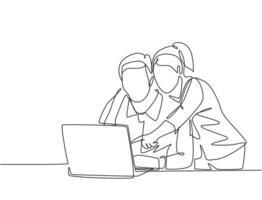 um único desenho de linha do jovem casal feliz, abraçando e abraçando romântico na frente do computador discutindo negócios. casal amante trabalhador conceito linha contínua desenhar ilustração vetorial vetor