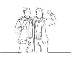 um desenho de linha contínua de dois jovens empresários felizes no escritório juntos e posando para se abraçar. conceito de parceiro de negócios desenho de linha única ilustração gráfica de vetor