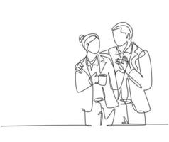 único desenho de linha contínua do trabalhador jovem casal romântico feliz comemorar seu aniversário após o horário de expediente. conceito de aniversário de casamento. tendência de uma linha desenhar design gráfico de ilustração vetorial vetor