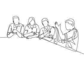 um único desenho de linha de jovens trabalhadores do sexo masculino e feminino discute sobre o projeto na reunião da empresa. conversa de negócios e conceito de discussão. ilustração gráfica de vetor moderno desenho linha contínua