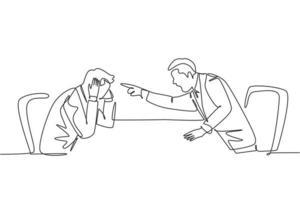 um único desenho de linha de jovem gerente furioso apontando o dedo para sua equipe frustrada e culpando a equipe sobre o conceito de desempenho de trabalho ruim. ilustração em vetor desenho desenho em linha contínua