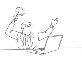 único desenho de linha contínua do jovem empresário de loucura pronto para bater em seu laptop usando um grande martelo no escritório. conceito de risco empresarial uma linha desenhar ilustração vetorial de design gráfico vetor