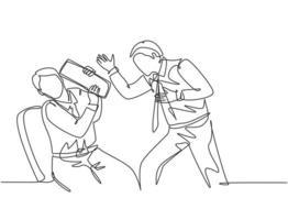 um desenho de linha contínua de um jovem gerente de raiva gritando no rosto de sua equipe depois que a equipe cometeu erros fatais. trabalho problema conceito ilustração vetorial desenho gráfico de linha única vetor