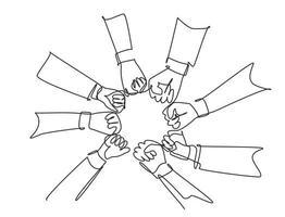 único grupo de desenho de linha contínua de jovens empresários unem as mãos para formar uma forma de círculo como um símbolo de unidade. conceito de trabalho em equipe uma linha desenhar ilustração vetorial de design gráfico vetor