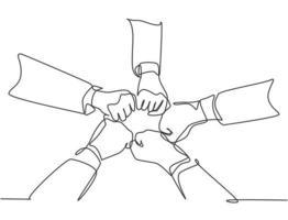 um grupo de desenho de linhas contínuas de jovens empresários do sexo masculino e feminino unem as mãos para formar uma forma de cinco estrelas. ilustração vetorial de desenho de desenho de linha única conceito de trabalho em equipe de unidade vetor
