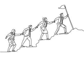 um desenho de linha contínua de um membro da equipe masculino e feminino fica junto, seguindo seu líder, que segura a bandeira para chegar ao topo da colina. conceito de trabalho em equipe, linha única, desenho, ilustração vetorial vetor