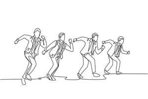 um desenho de linha única contínua de um jovem gerente participando de uma competição de corrida na pista de atletismo para chegar à linha de chegada. conceito de corrida de sprint de negócios ilustração vetorial desenho de linha única vetor