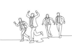 um único desenho de linha de um grupo de trabalhadores masculinos e femininos fazendo corrida de velocidade na linha de chegada cruzada da pista de estrada. negócios em execução competição conceito linha contínua desenho ilustração vetorial vetor