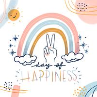 Lindo arco-íris com mão de paz, sol Characte, formas abstratas e citação sobre felicidade vetor