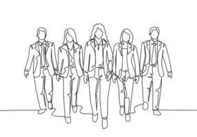 um desenho de linha contínua de jovens trabalhadores masculinos e femininos caminhando juntos ordenadamente em uma linha na rua da cidade ir para o escritório. ilustração em vetor desenho de desenho de linha única de trabalhadores urbanos urbanos
