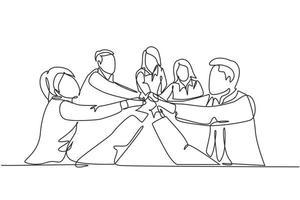 um único grupo de desenho de linha de jovens empresários felizes do sexo masculino e feminino unem as mãos para formar uma forma de círculo. trabalho em equipe unidade conceito linha contínua desenho ilustração vetorial vetor