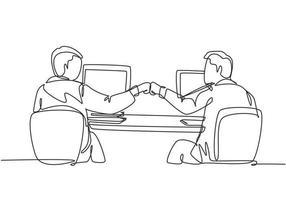 um desenho de linha contínua de dois jovens trabalhadores masculinos felizes batendo os punhos para celebrar o sucesso no escritório. ilustração em vetor design gráfico de linha única conceito de trabalho em equipe de negócios