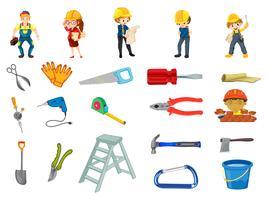 Conjunto de trabalhador de construção vetor