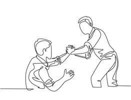 único desenho de linha contínua do jovem empresário feliz ajuda a tirar seu colega do fracasso e ressuscitar. moderno trabalho em equipe suporte conceito uma linha desenhar design ilustração gráfica de vetor