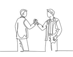 um único desenho de linha de dois jovens empresários felizes segurando as mãos juntas para marcar o início de um projeto conjunto. conceito de trabalho em equipe linha contínua desenho ilustração vetorial vetor