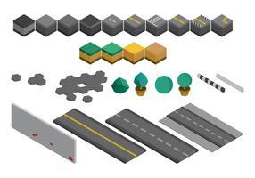 Conjunto de edifícios industriais isométricos e ativos vetor