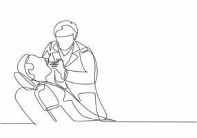 desenho de linha única contínua de jovem dentista examinando a condição dos dentes do paciente e fazendo a obturação dentária. ilustração em vetor design desenho de profissionais de saúde médica conceito uma linha