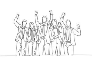 um desenho de linha contínua de jovens trabalhadores masculinos e femininos felizes se alinham perfeitamente na sala de reuniões. conceito de celebração de trabalho em equipe de negócios na moda linha única desenhar design ilustração vetorial vetor