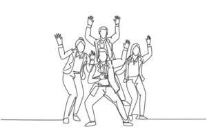 desenho de linha única contínua do jovem treinador feliz, dançando de alegria na sala de seminário juntos. trabalho em equipe de negócios celebração conceito uma linha desenhar design ilustração vetorial vetor