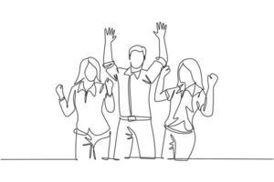 único desenho de linha contínua de jovens trabalhadores femininos e masculinos felizes desfilando de alegria na sala do escritório juntos. trabalho em equipe de negócios celebração conceito uma linha desenhar design ilustração vetorial vetor