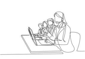 um grupo de desenho de linhas contínuo de membros masculinos e femininos da equipe de call center responde gentilmente a um telefonema de reclamação de clientes. ilustração em vetor design de desenho de linha única conceito de atendimento ao cliente