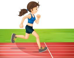 Um jovem garota formação para maratona vetor