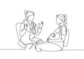 um desenho de linha única de uma médica ginecologista e obstétrica dando consulta à paciente grávida. gravidez conceito cuidados de saúde linha contínua desenhar ilustração vetorial de design vetor