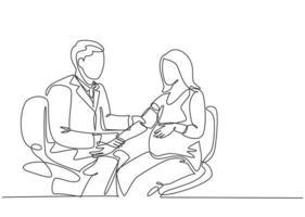 um desenho simples de um médico ginecologista e obstétrico masculino verificando a pressão arterial e a condição fetal do paciente. gravidez conceito cuidados de saúde linha contínua desenhar ilustração vetorial de design vetor