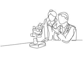 um desenho de linha contínua de um cientista analisa uma amostra de sangue usando um microscópio de laboratório para encontrar a vacina covid19. pesquisa médica coronavírus conceito linha única desenho desenho ilustração vetorial vetor