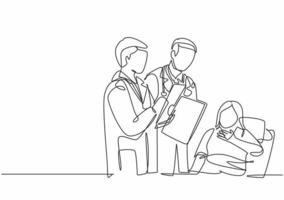 um único desenho de linha de jovem médico mostrando relatório de progresso de saúde positivo para paciente idosa deitada na cama. ilustração em vetor design de desenho de linha contínua de conceito de tratamento médico
