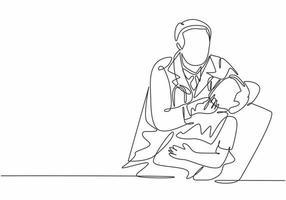 um único desenho de linha de jovem dentista examina e extrai um dente de um menino na clínica odontológica. Dentes tratamento cuidados de saúde conceito de serviço linha contínua desenho desenho ilustração vetorial vetor