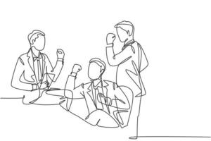 desenho de linha único e contínuo de jovens empresários felizes celebrando seu sucesso na obtenção de investimentos. trabalho em equipe de negócios celebração conceito uma linha desenhar design ilustração vetorial vetor