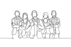 um único grupo de desenho de linhas de membros masculinos e femininos da equipe de atendimento ao cliente posa ordenadamente em uma linha reta. conceito de excelência em serviço de call center ilustração em vetor desenho linha contínua