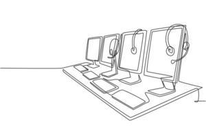 um desenho de linha contínua de um conjunto de equipamentos de atendimento ao cliente, computador, fone de ouvido, monitor, teclado e mouse. serviço de central de atendimento excelente conceito ilustração vetorial desenho desenho de linha única vetor