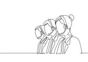 um grupo de desenho de linha contínua de membro da equipe de telemarketing masculino e feminino ligando para um novo cliente para oferecer um novo produto de limpeza doméstica. ilustração em vetor desenho linha única conceito agente de vendas