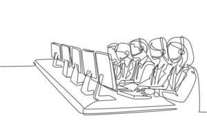 um único grupo de desenho de linhas de membros masculinos e femininos da equipe de atendimento ao cliente responde gentilmente a chamadas telefônicas de reclamação de clientes. ilustração em vetor design de desenho de linha contínua conceito de call center