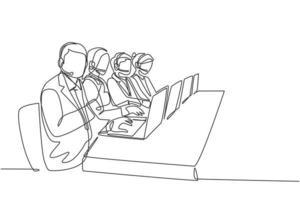 um grupo de desenho de linha contínua de equipe de telemarketing masculino e feminino ligando para um cliente em potencial para oferecer o produto. vendas, marketing, cuidado, trabalhador, conceito, linha única, desenho, vetorial, ilustração vetor