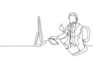um desenho de linha contínua de jovem trabalhador masculino feliz call center dando polegares para cima gesto enquanto lidar com a reclamação do cliente. conceito de atendimento ao cliente, linha única, desenho, vetorial, ilustração vetor