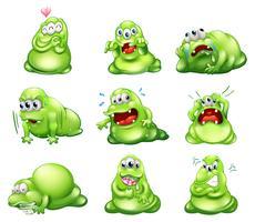 Nove monstros verdes participando de diferentes atividades vetor