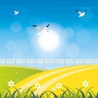 Vetorial, primavera, paisagem, ilustração