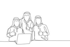 único desenho de linha contínua do jovem gerente da equipe muçulmana dar polegares para cima gesto enquanto está sentado na frente do laptop. pano árabe do Oriente Médio kandura, descongelar, manto. ilustração em vetor desenho um desenho