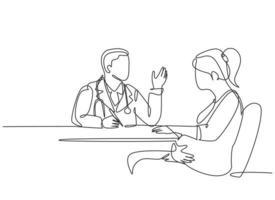 um desenho simples de um médico ginecologista e obstétrico masculino conversa com o paciente, dando sugestões e conselhos. gravidez cuidados de saúde tratamento conceito linha contínua desenhar ilustração vetorial de design vetor