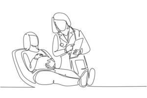 um desenho simples de uma médica obstétrica e ginecológica conversando com a paciente e explicando a condição do útero. conceito de saúde para grávidas linha contínua desenhar ilustração vetorial de design vetor