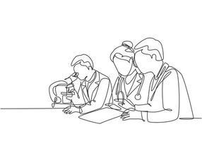 um desenho de linha contínua do médico analisa a amostra de sangue do paciente infectado usando um microscópio de laboratório para encontrar a vacina cobiçada. pesquisa médica de coronavírus. ilustração em vetor desenho desenho de linha única