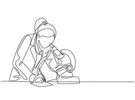 um desenho de linha contínua de uma cientista pesquisando uma fórmula de antibiótico usando um microscópio para encontrar uma vacina covid. Coronavírus, conceito de pesquisa médica, desenho de linha única, ilustração em vetor